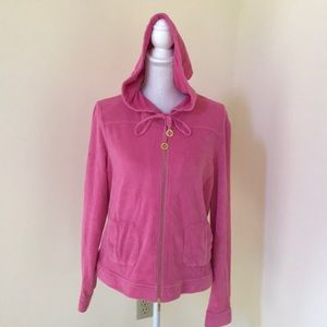 Tory Burch XL pink French Terry Zippered hoodie